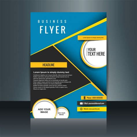 Abstract Blue Business Brochure With Yellow Details Vector Free Download Ad Template Free