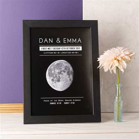 personalised moon phase significant date print  oakdene