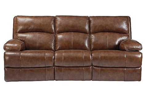 Leather Match Upholstery by The Lensar Nutmeg Reclining Sofa From Furniture
