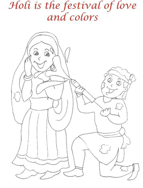 Child Playing Holi Coloring Pages Holi Colouring Pages