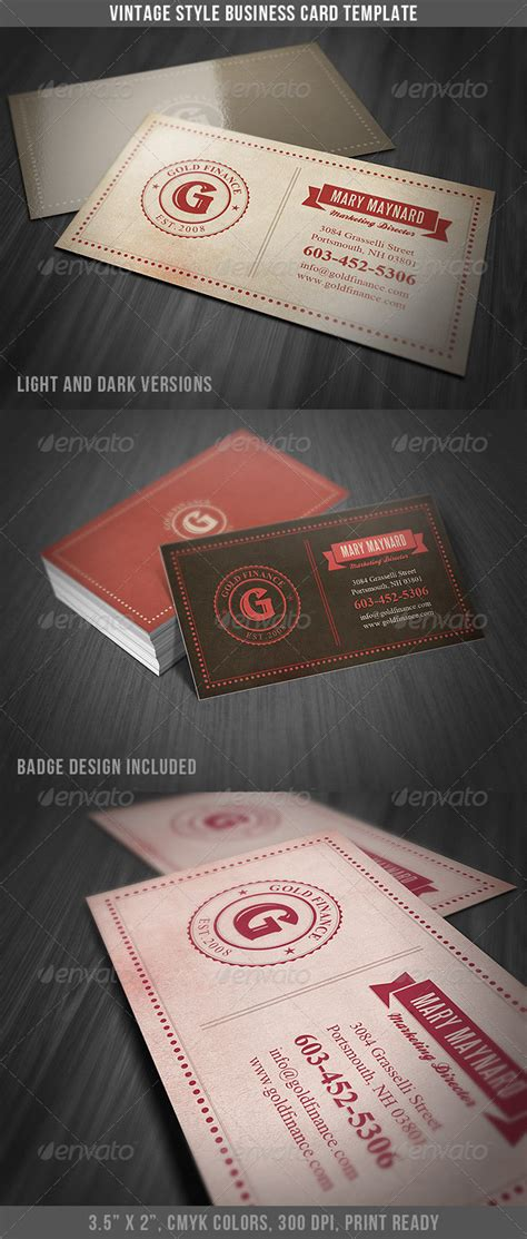 retro business card template vintage style business card template graphicriver
