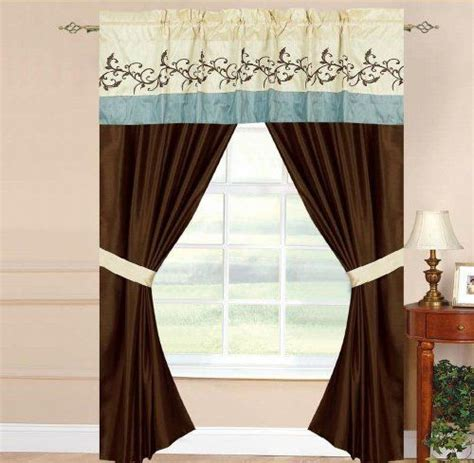 brown and cream bedding with curtains amber blue brown cream 5 piece drapery and valance set by