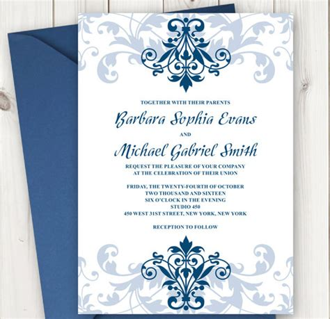 Formal Invitation Template 31 Free Sle Exle Format Download Free Premium Templates Navy Blue Wedding Invitation Templates