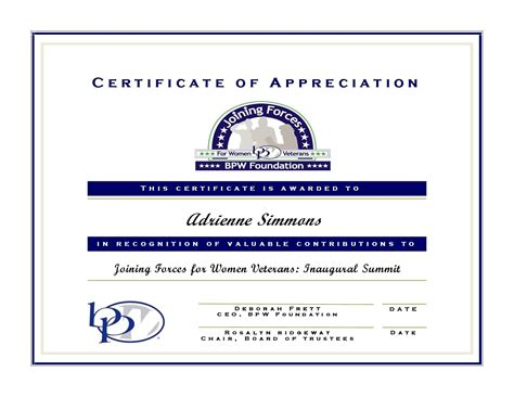 formal certificate of appreciation template gallery