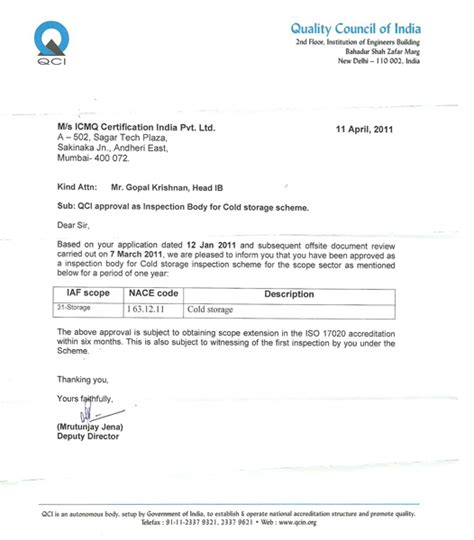 Thank You Letter Quotation Approval Accreditation About Us Icmq