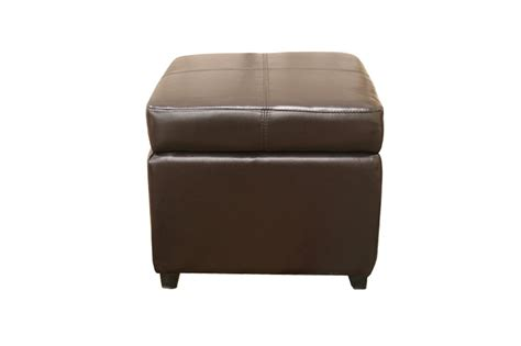 pandora brown leather small storage ottoman  wood feet