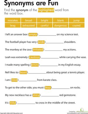 synonyms are fun worksheet education com