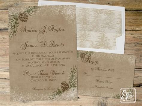 Rustic Winter Wedding Invitations