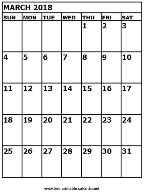 Calendar March 2018 Free Printable Calendar March 2018