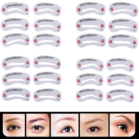 Eyeshadow Eyeliner Grooming Shaping Template Stencil Card by 24 Pcs Pro Reusable Eyebrow Stencil Set Eye Brow Diy