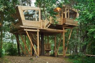 Log Cabin Design Almke Treehouse By Baumraum Provides Gathering Place For