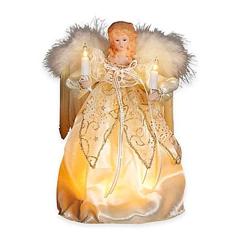 kurt adler angel tree topper kurt adler 9 inch 10 light tree topper in gold and ivory buybuy baby