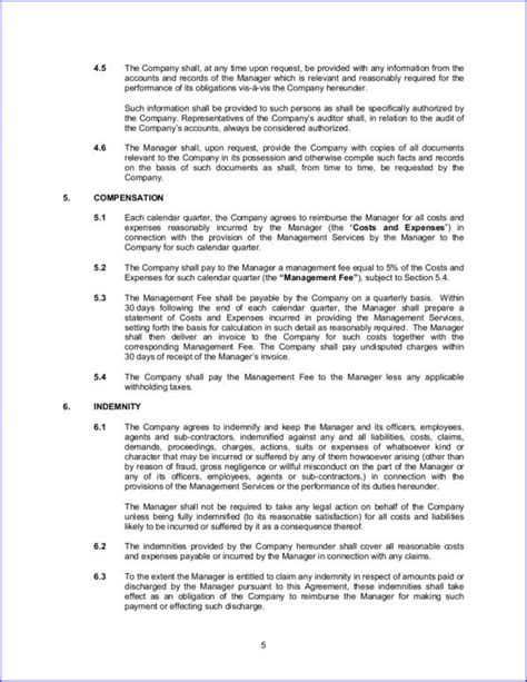 16 management contract sles templates free word