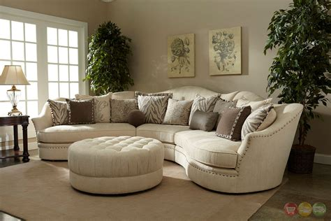 ivory living room furniture amanda transitional curved ivory sectional sofa w loose