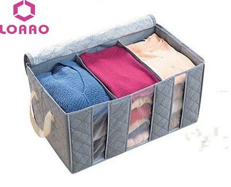 Bamboo Storage Box Cloth Organizer 4 Sisi 4 Sekat Besar loaao foldable clothing box bamboo home cloth storage bag