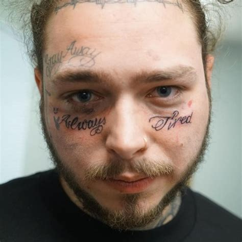 cross tattoo under eye meaning post malone got a new saying always tired