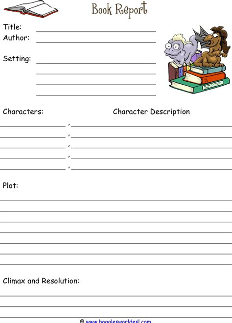 book report template 2 for free tidyform