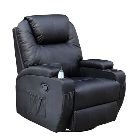 Black Recliner by Cinemo Black Leather Recliner Chair Rocking Swivel