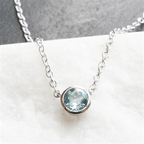 sterling silver aquamarine necklace by wue