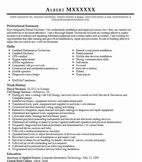 diesel mechanic resume objective 28 images industrial