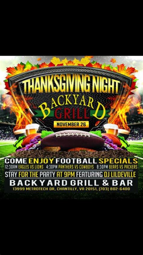 thanksgiving at the backyard grill features all the