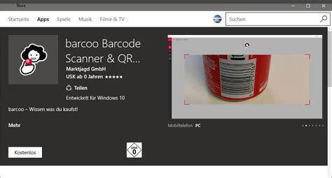 barcode scanner windows mobile quot barcoo barcode scanner qr scanner quot zur 252 ck im microsoft