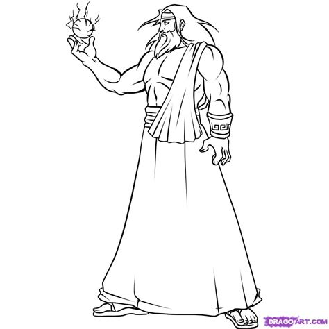 coloring page zeus how to draw zeus step by step mythology mythical