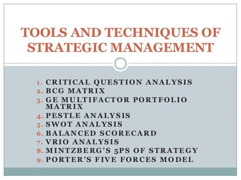 Strategic Cost Management Notes For Mba by Tools And Techniques Of Strategic Management