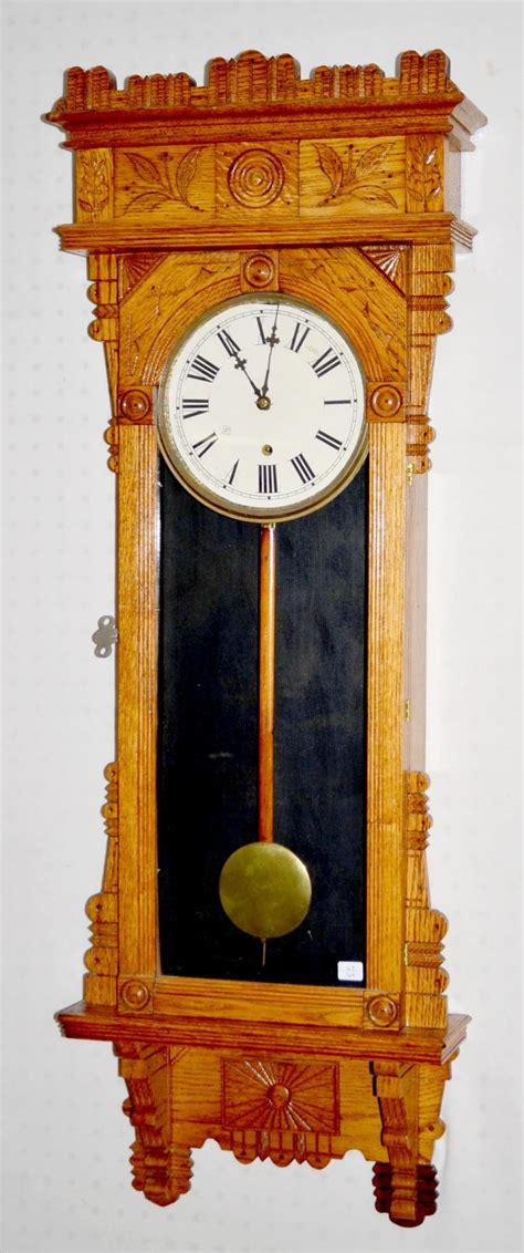 antique gilbert quot salisbury quot oak wall clock t o with a sign