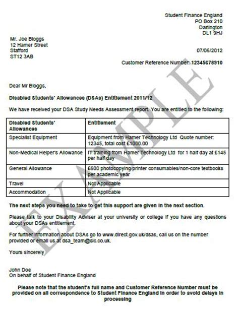 Student Finance Letter Template Hamer Technology