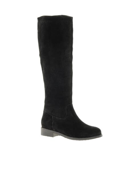 suede high boots asos casanova suede knee high boots in black lyst