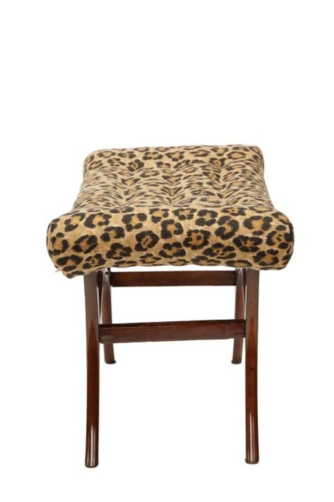 leopard bench furniture scapinelli 1950s brazilian modern bench with linen leopard
