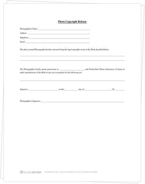 Why You Should Have A Photo Release Form Template Free Form Templates