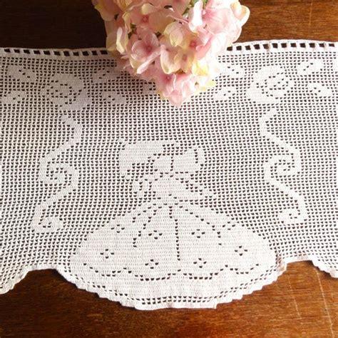 filet crochet curtains dutch crochet curtains filet valance vintage by