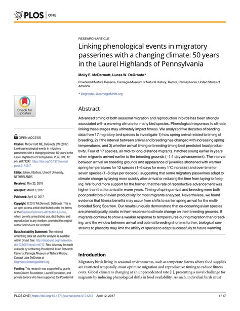 linking phenological events in migratory passerines with a