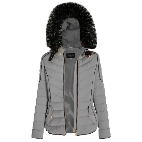 Light Grey Layered Quilted Puffer Jacket With Black Faux