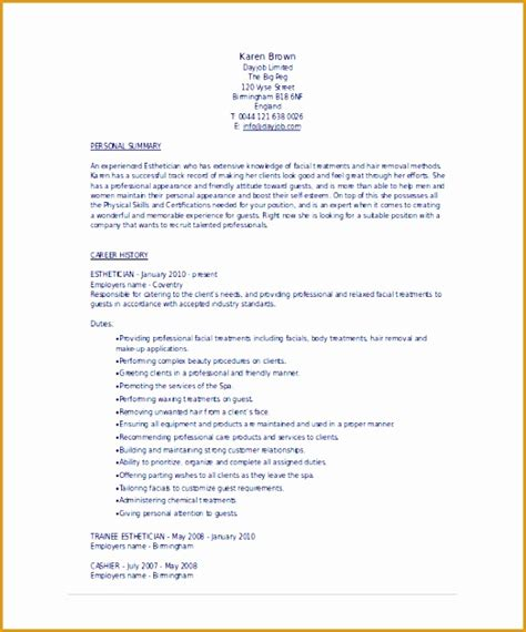 sle of acting resume 9 esthetician resume template free sles exles