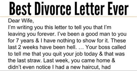 Best Divorce Letter Snopes Husband Admits To Sleeping With Wife S But Response Is The Best Thing I Ve Read