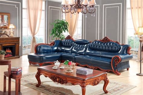 blue sofa set living room buy wholesale blue leather sofas from china blue