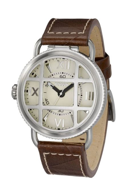 Fossil Fs0115 Brown List White fossil stainless steel leather brown