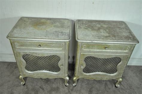 Silver Leaf Nightstand Pair Of Regency Silver And Gold Leaf Nightstands After Maison Jansen For Sale At 1stdibs