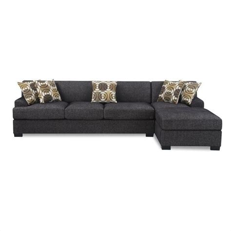 Benford Faux Linen Chaise Sofa Sectional in Ash Black