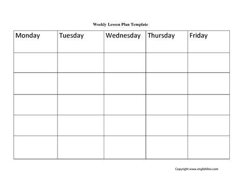 week lesson plan template lesson plan template weekly lesson plan template