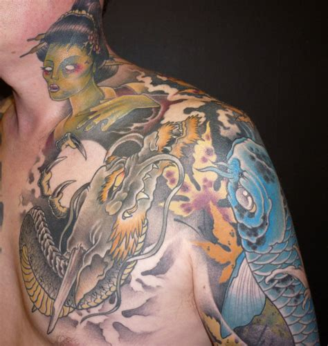 tattoo around neck chest japanese neck and chest tattoo by blackstartattoo on
