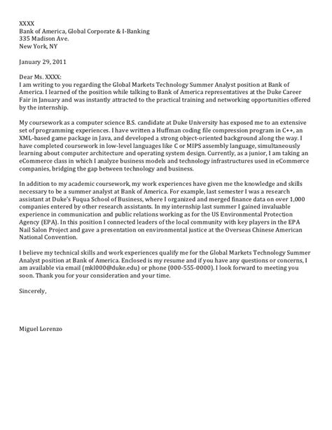 Cover Letter For Internship Computer Science junior cover letter computer science