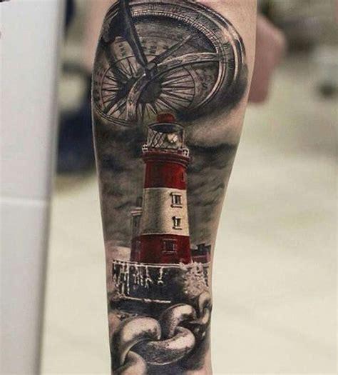 compass lighthouse tattoo 30 lighthouse tattoo ideas lighthouse painting black