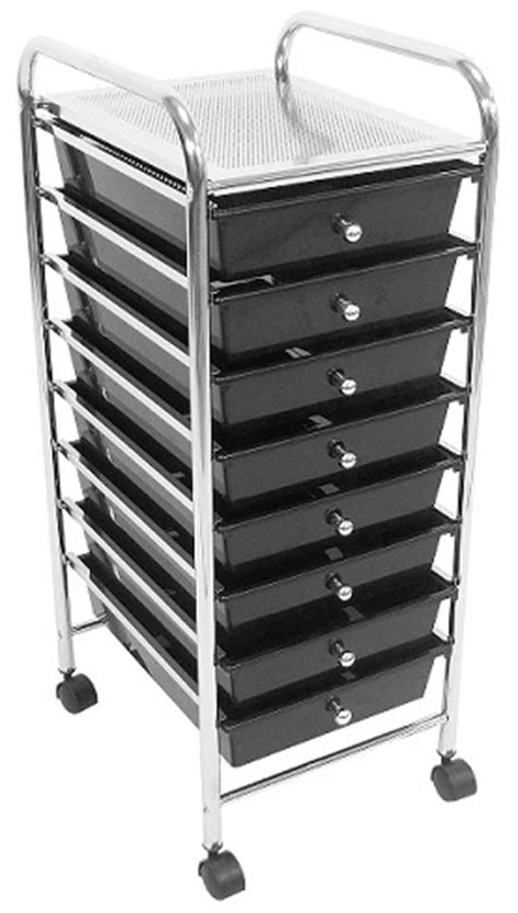 Makeup Cart With Drawers Trolley Black 8 Drawer Salon Furniture Equipment Utility