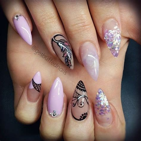 Naglar Design by Purple And Black Nails Naglar Naglar