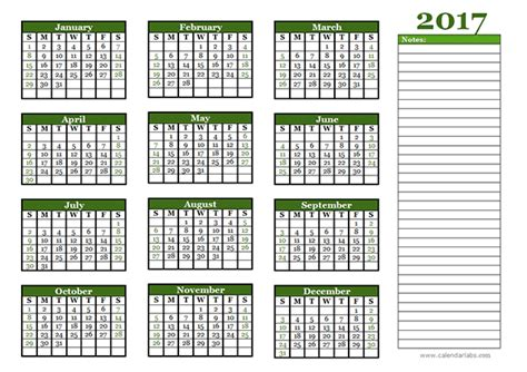 Calendar 2017 Printable With Notes 2017 Yearly Calendar With Blank Notes Free Printable