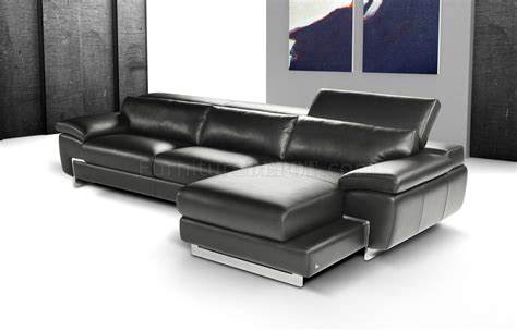 modern italian leather sectional sofas black full italian leather modern sectional sofa w steel legs